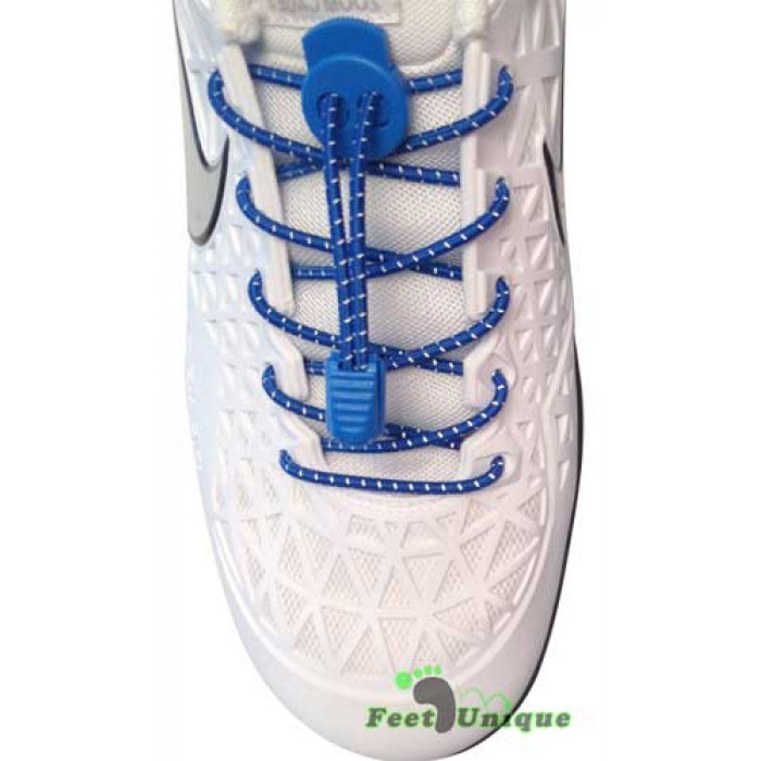 Reflective lock blue shoelaces