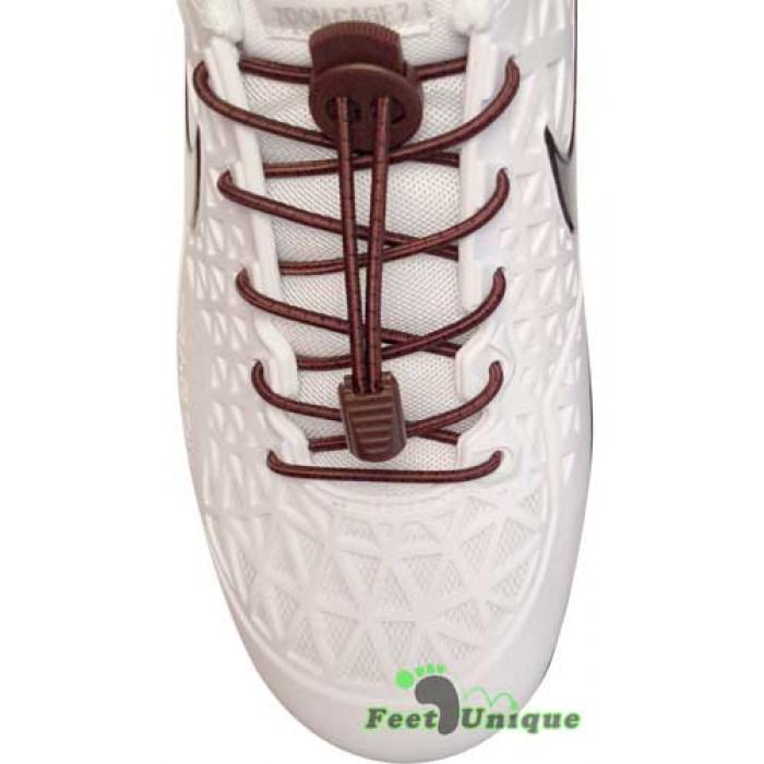 Elastic stripes dark brown shoelaces