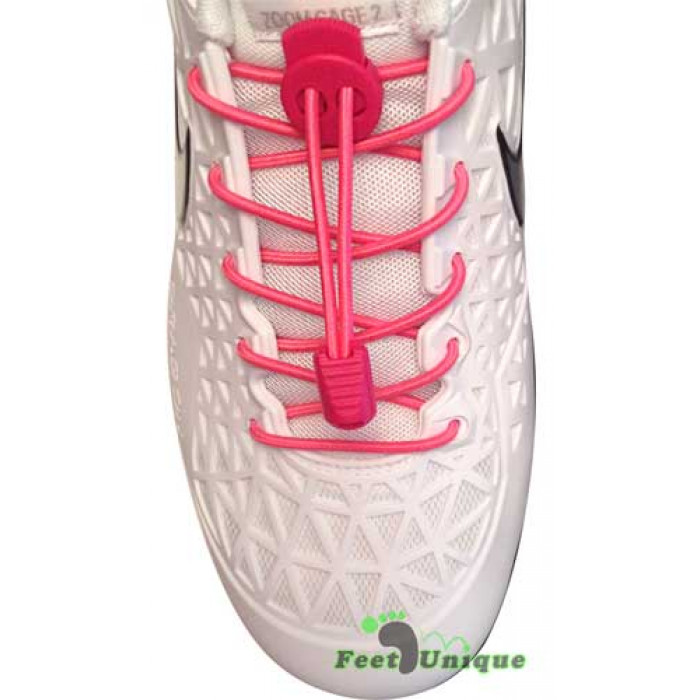 Elastic lock hot pink shoelaces