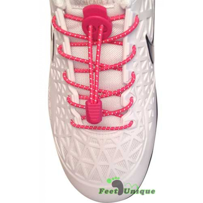 Reflective lock hot pink shoelaces