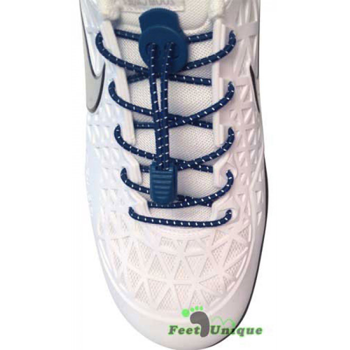 Reflective lock navy blue shoelaces
