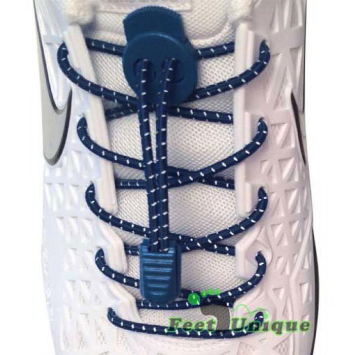 Reflective lock navy blue shoelaces