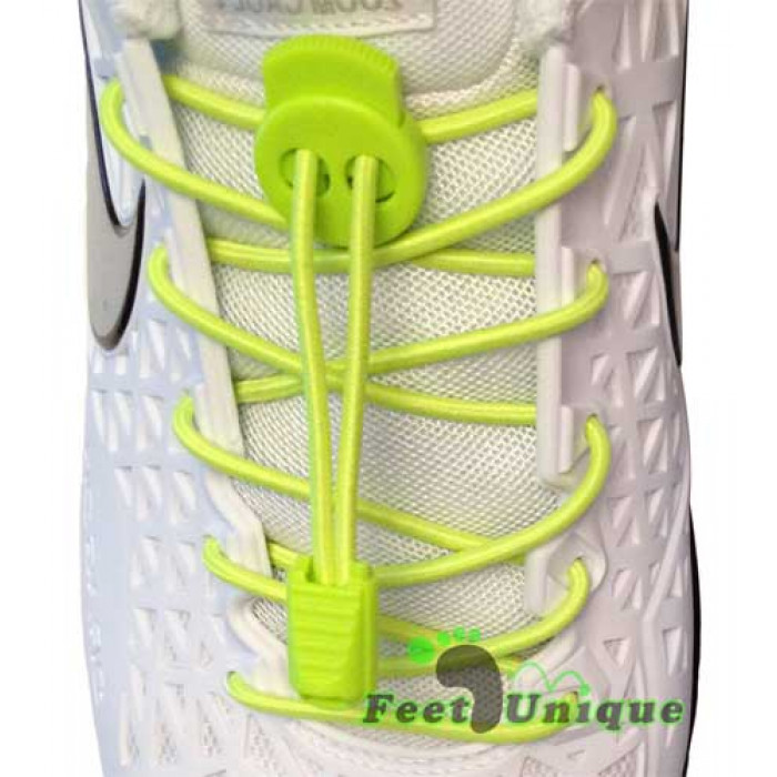 Elastic lock neon yellow shoelaces