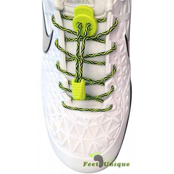 Elastic lock black & neon yellow laces