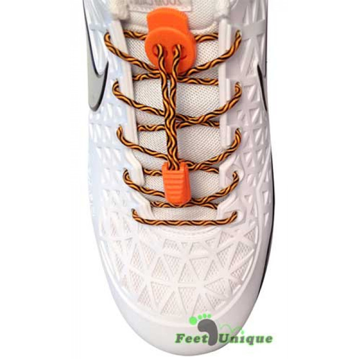 Elastic lock black orange laces