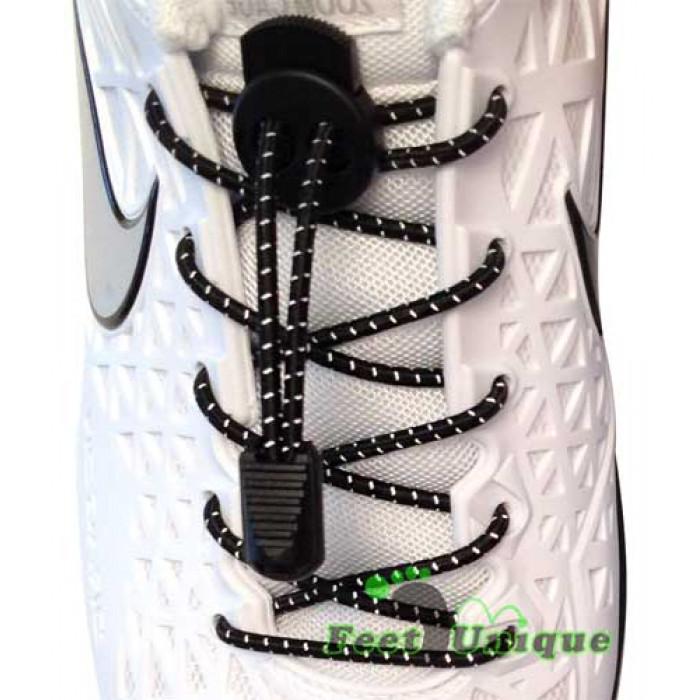 Reflective lock black shoelaces