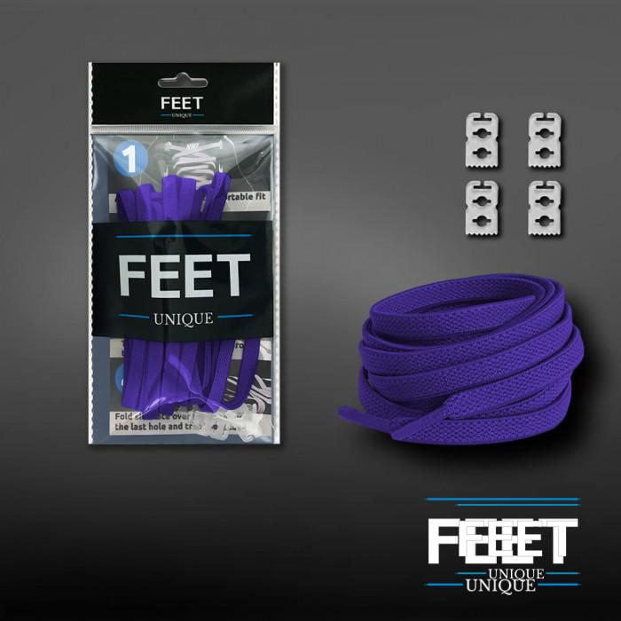 Elastic flat purple shoelaces (no tie)