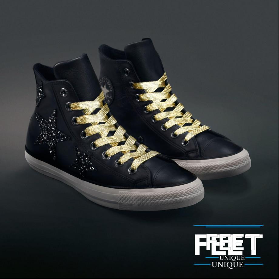 Flat Gold Shoelaces ← Glitter laces