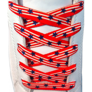 Red With Blue Stars shoelaces