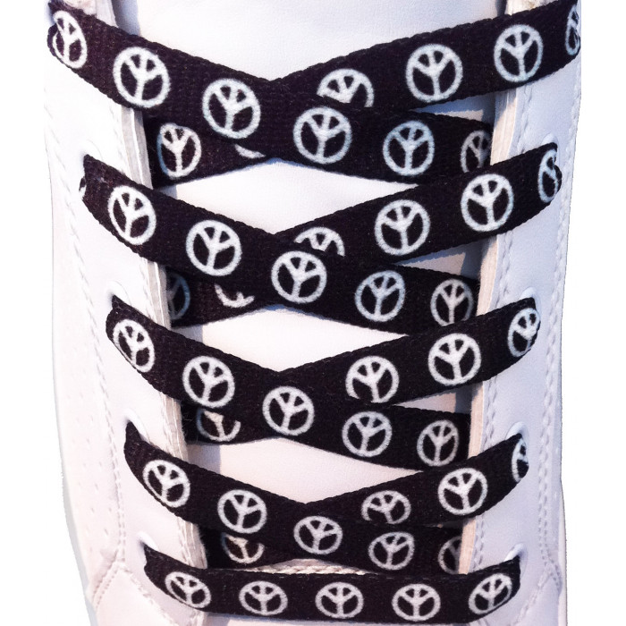 Black peace shoelaces