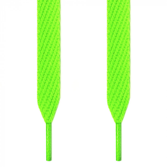 Extra wide neon green shoelaces