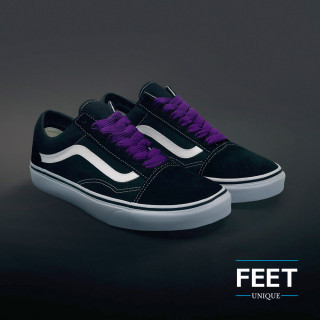 Extra wide purple shoelaces