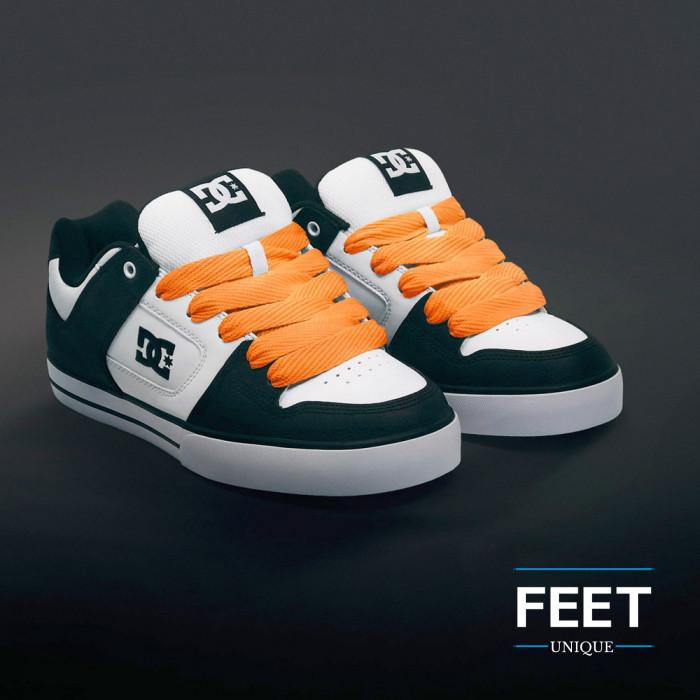 Super wide orange shoelaces