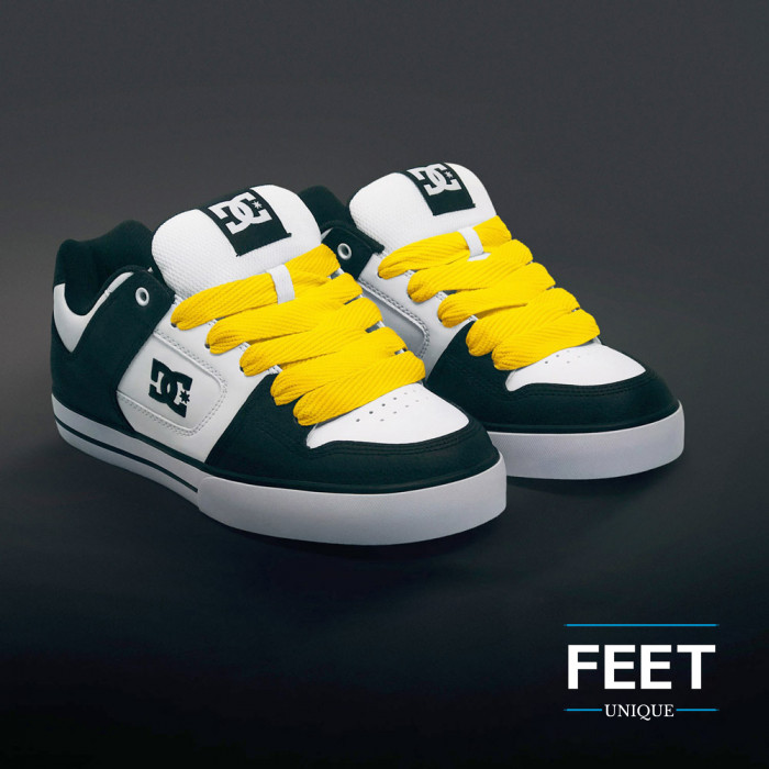 Super wide yellow shoelaces
