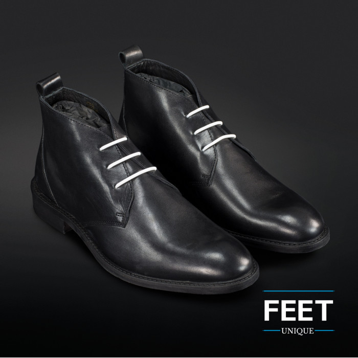 """White """"No-Tie"""" shoelaces for dress shoes"""