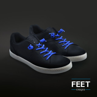 Blue curly shoelaces