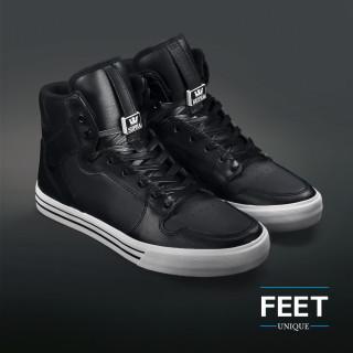 Flat black leather laces