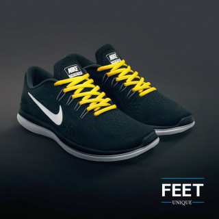Oval yellow shoelaces