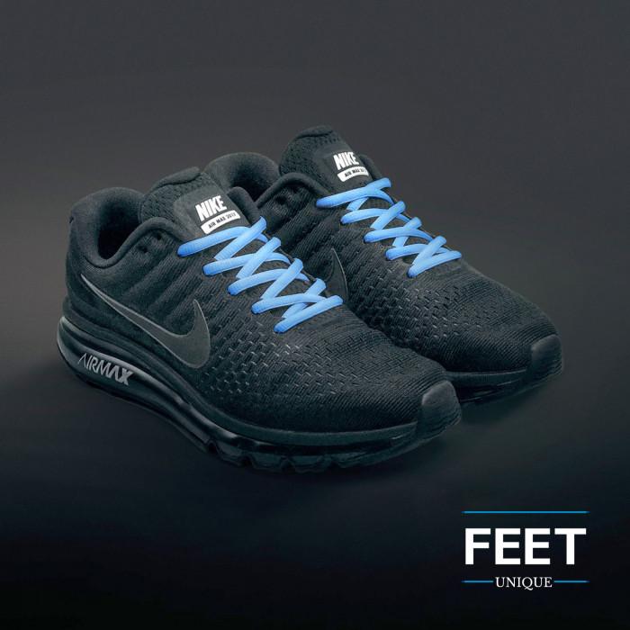Oval light blue shoelaces