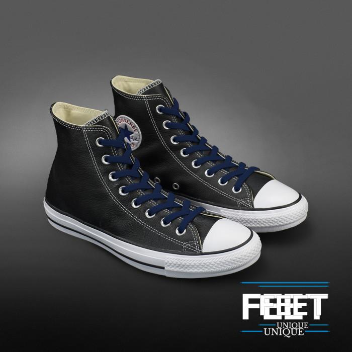 Elastic Flat Navy Blue Shoelaces (No Tie)