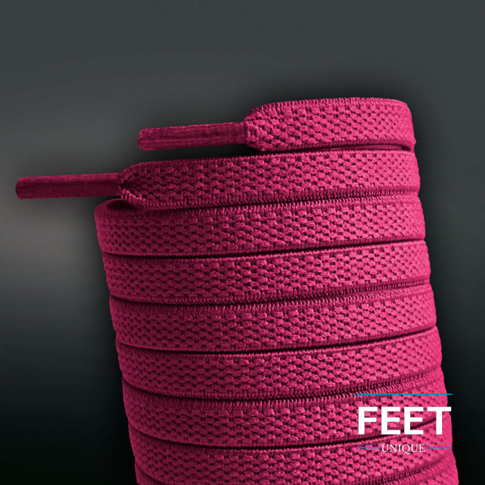 Elastic flat hot pink shoelaces (no tie)