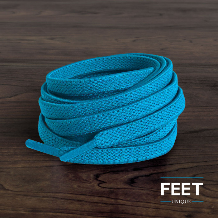 Elastic turquise-blue shoelaces (no tie)