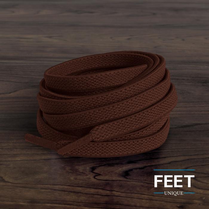 Elastic Flat Dark Brown Shoelaces (No Tie)