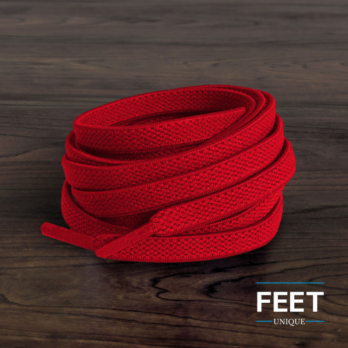Elastic flat red shoelaces (no tie)