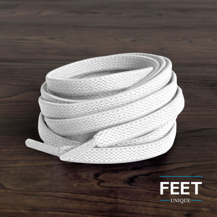 Elastic flat white shoelaces (no tie)
