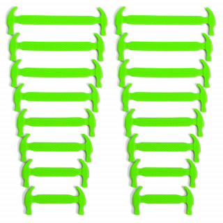 Neon green elastic silicone shoelaces