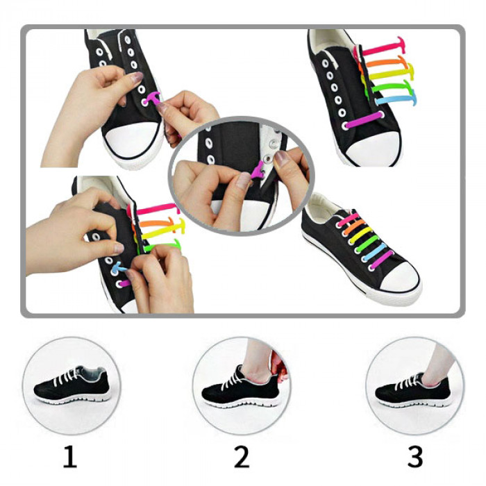Black elastic silicone shoelaces