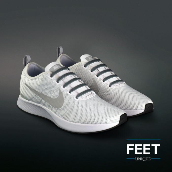 Dark grey elastic silicone shoelaces