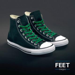 Flat green shoelaces