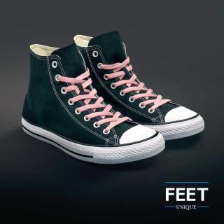 Flat pink shoelaces