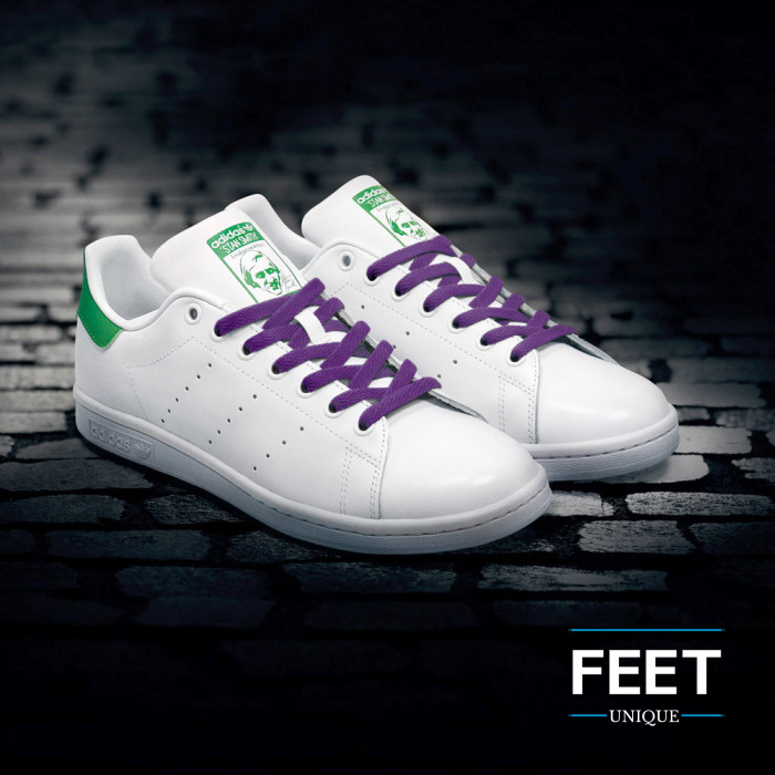 Flat purple shoelaces
